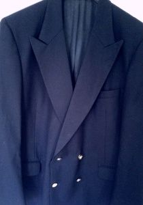🏇 Burberry Navy Blue Double Breasted Wool Jacket